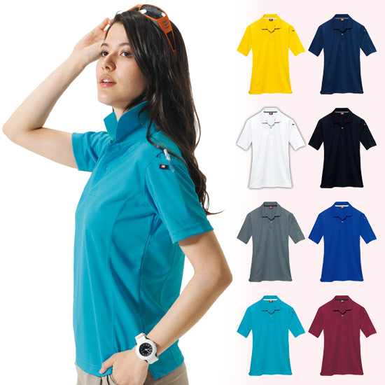 ドライメッシュ半袖ポロシャツ[左袖ポケット付](03-305)