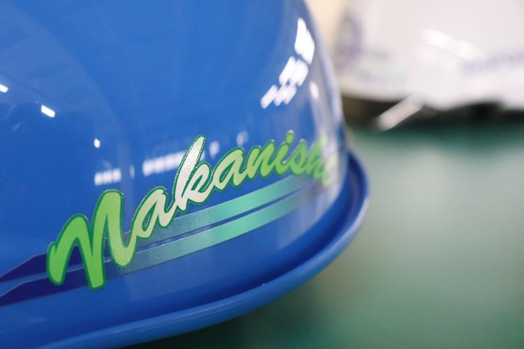 ヘルメットのフルカラー印刷サンプル