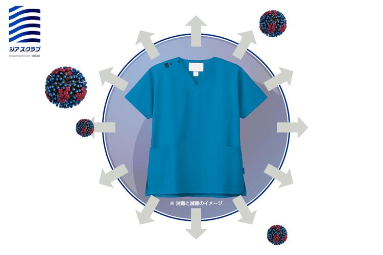 新型コロナウイルス対策としても有効な次亜塩素酸ナトリウムでも色落ちしないスクラブ ジアスクラブ メイン画像