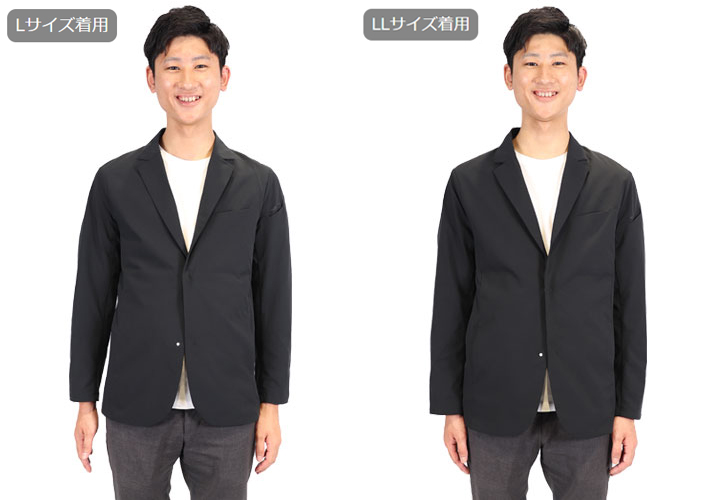 TS-DESIGN スーツ型作業服 ステルスジャケットのサイズ比較画像