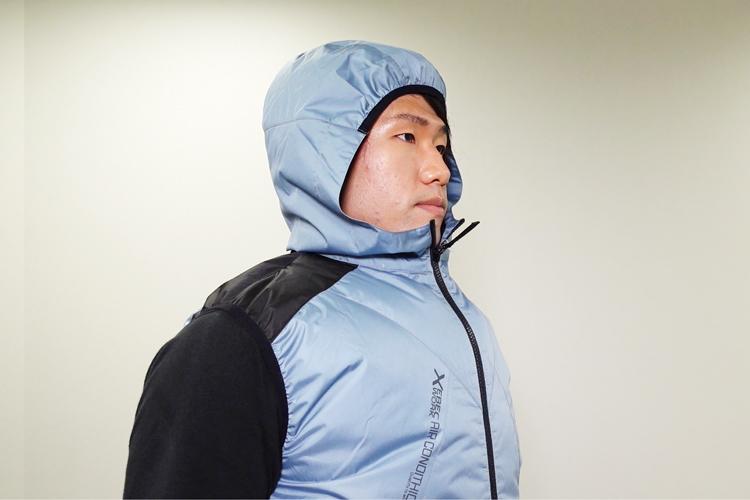 ジーベック 遮熱加工 空調服ベスト A5-XE98024 ヘルメット対応フード付き