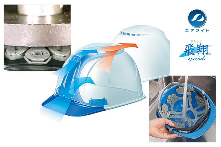 タニザワの大型通気孔で涼しいヘルメット